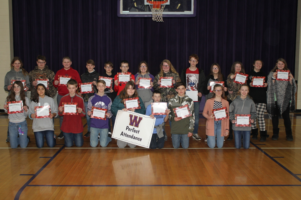 Jr. High 2nd Quarter Perfect Attendance