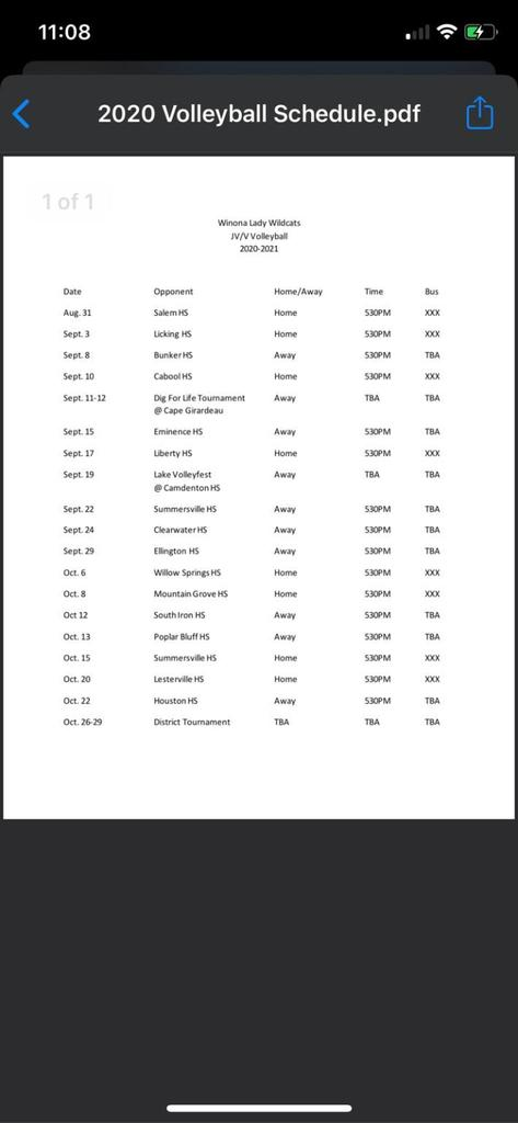 2020 HS Volleyball Schedule